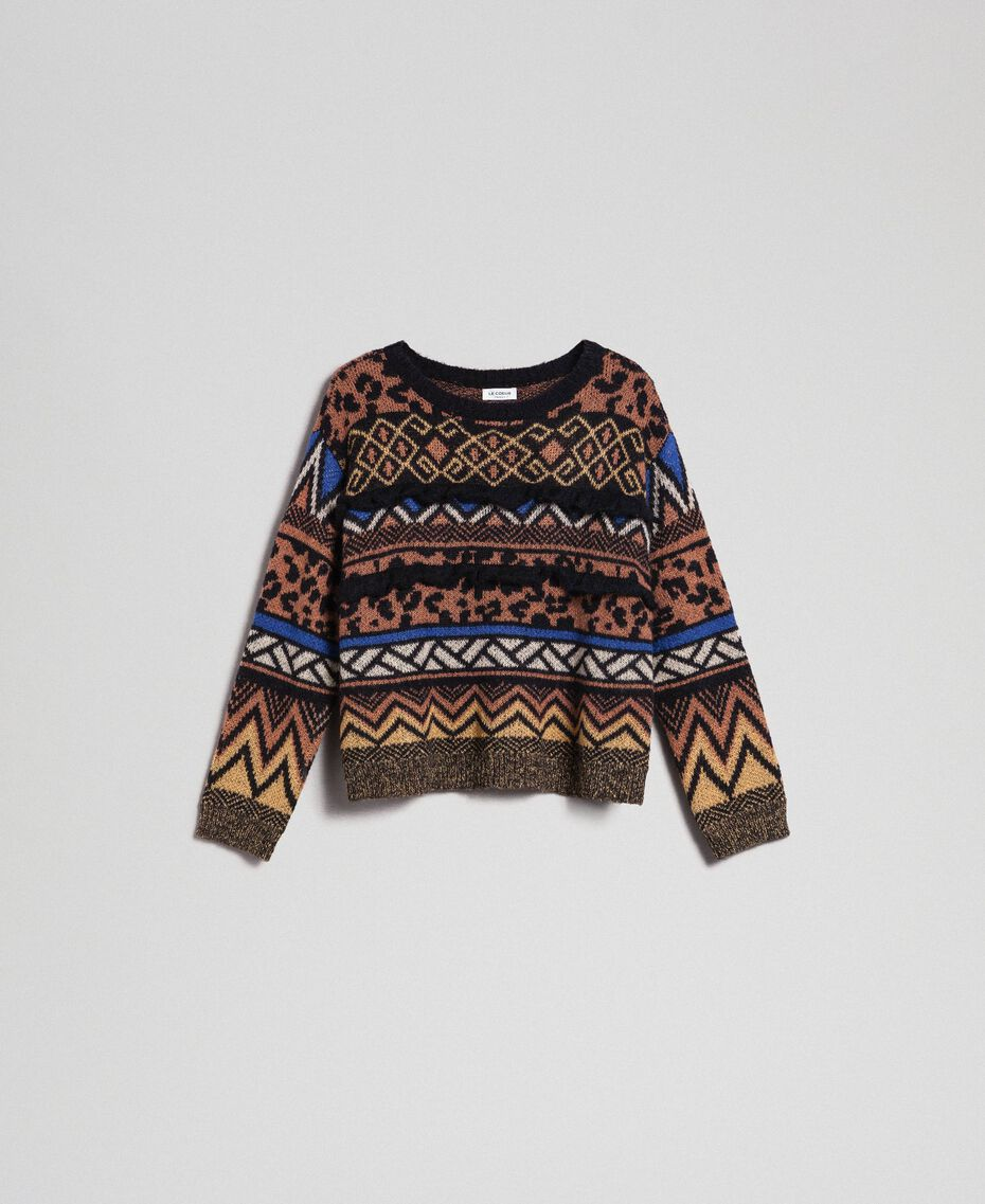 Pull en laine et mohair avec motifs jacquard Jacquard Mélange Géométrique Animalier Femme 192ST3190-0S