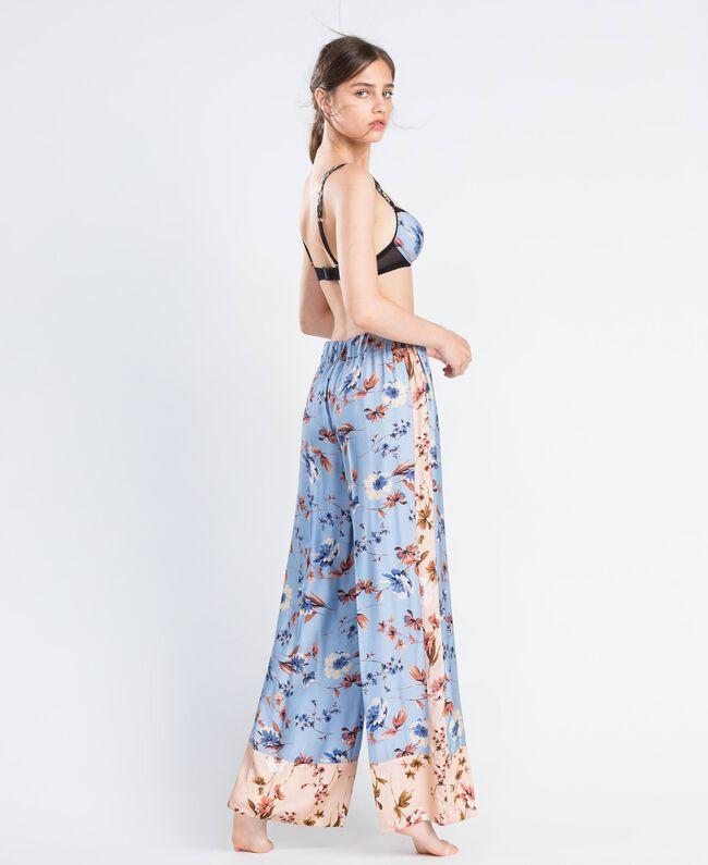 Pantalon palazzo imprimé floral Imprimé Rose Mélange Fleurs Femme IA8EXX-03