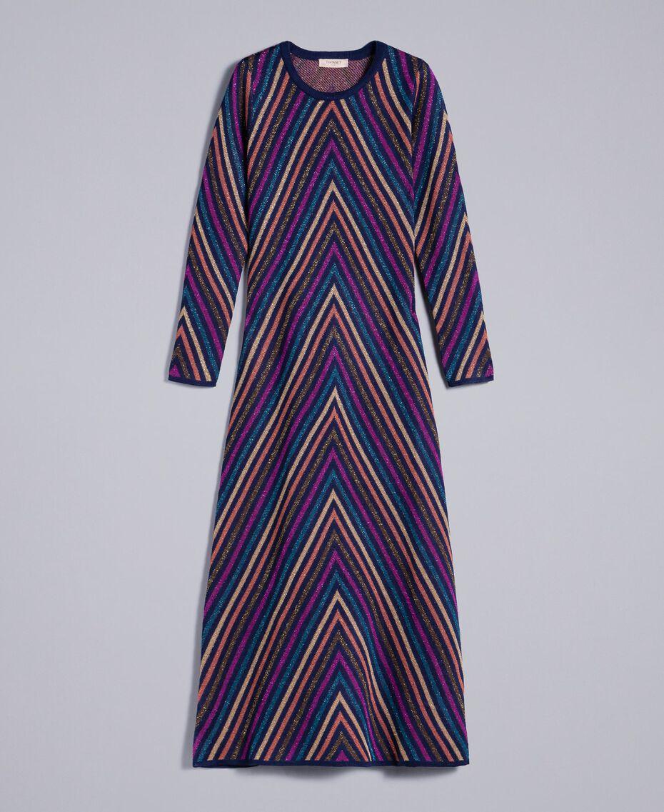 Robe longue jacquard à rayures lurex multicolores Jacquard Rayure Lurex Bleu Femme TA838E-0S