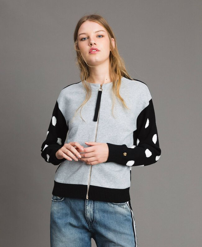 Plush cardigan-top with polka dots and stripes Multicolour Light Melange Grey / Black / White Woman 191MP3120-03