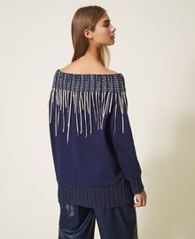 Толстовка с вышивкой и бахромой Синий Blackout женщина 202LI2HAA-03