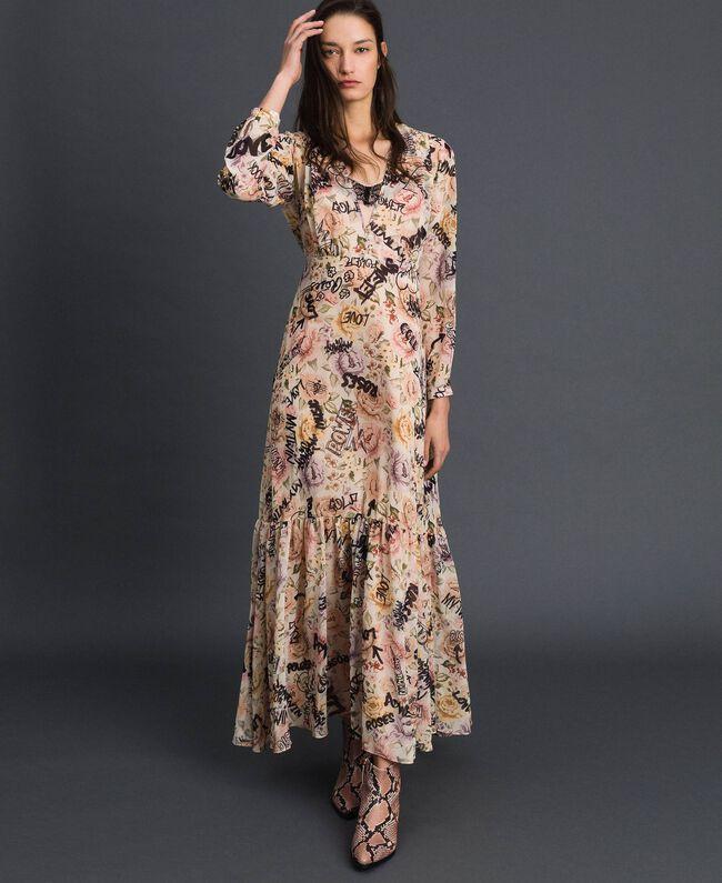 Long dress with floral and graffiti print Vanilla Flower Graffiti Print Woman 192MP2221-01
