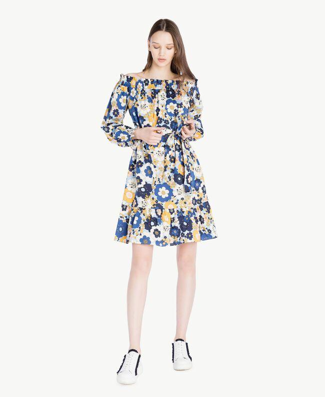 Printed dress Flat Flower Print Placid Blue Woman SS82PC-01