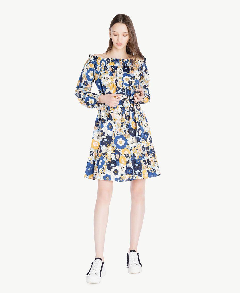Kleid mit Print Flacher Blumenprint Placid Blue Frau SS82PC-01