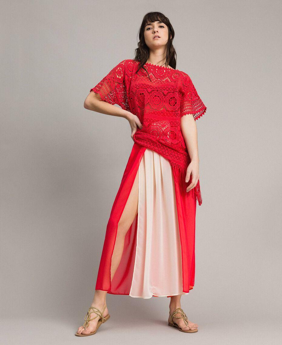 """Jupe longue avec panneaux multicolores Multicolore Rouge """"Framboise"""" / Beige """"Voie lactée"""" / """"Jus d'Orange"""" Femme 191LM2TCC-01"""