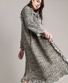 """Fringed tweed duster coat Two-tone """"Snow"""" White Bouclé / Black Woman 191TP2521-01"""