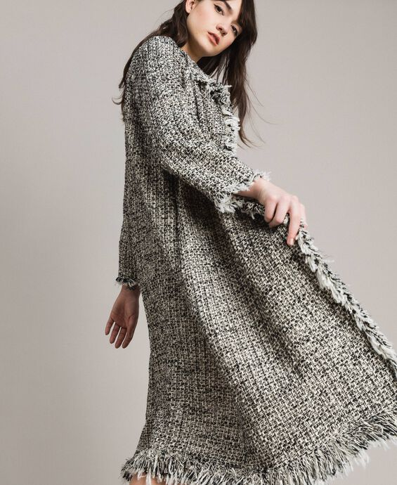 Fringed tweed duster coat