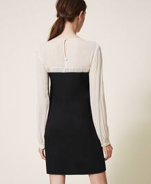 Two-tone dress with lace Two-tone Cream White / Black Woman 202TP2311-03