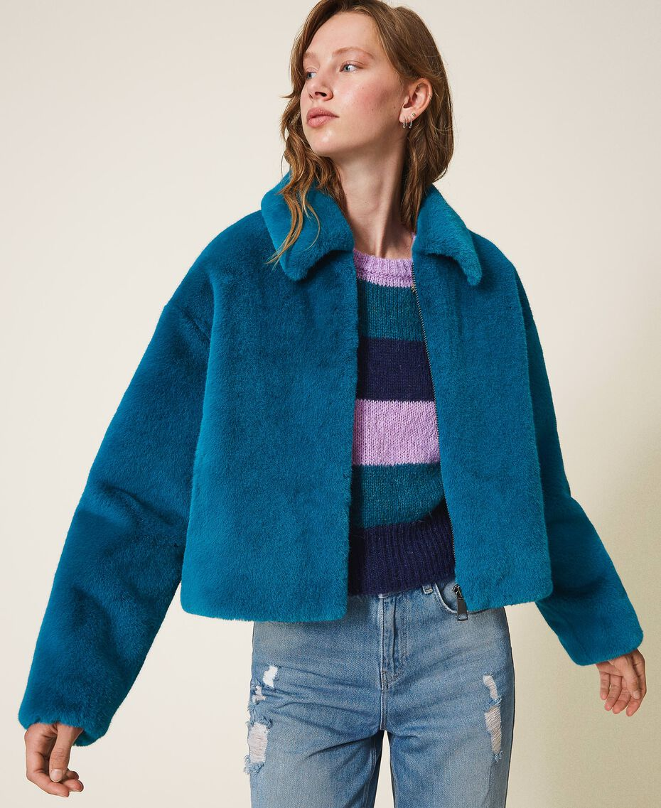 Jacke aus Pelzimitat Blau Ostsee blau Frau 202TP2334-03