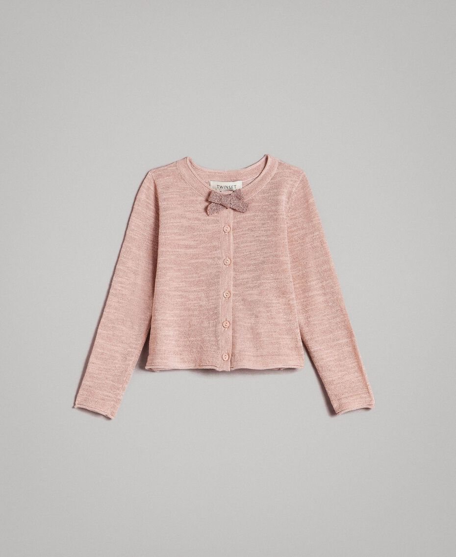Вязаный кардиган из смесового люрекса Розовый Blossom Pебенок 191GB3060-01