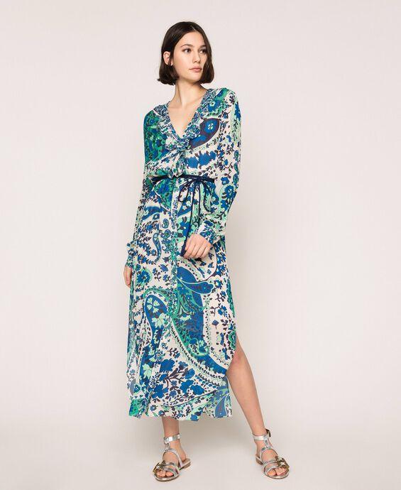 Paisley print georgette long dress