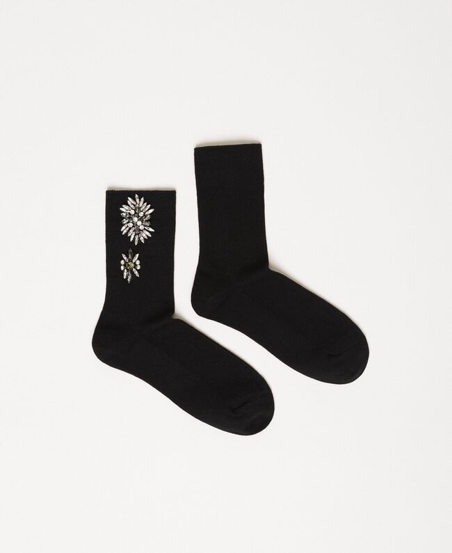 Short socks with floral embroidery Black Woman 201TA4416-01