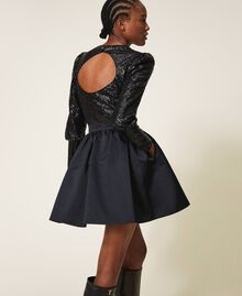 Minifalda de duquesa Negro Mujer 202TP2453-04