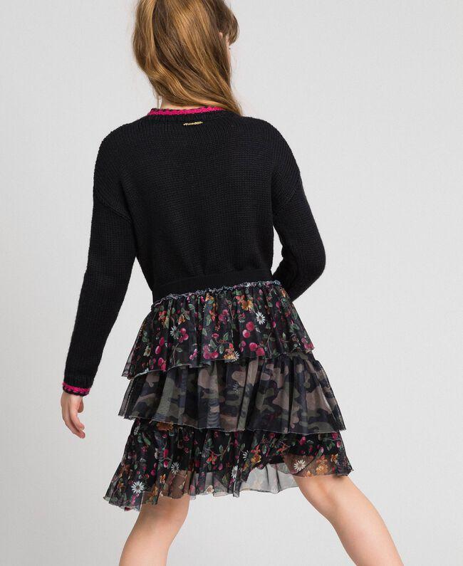 """Maglia in misto lana con intarsio di rose Nero / Fuxia """"Caramella"""" Bambina 192GJ3020-05"""