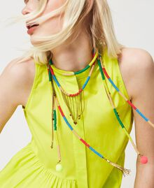 """Necklace with pearls and fringes """"LED"""" Yellow / """"Neon"""" Pink Multicolour Woman 211TO501F-0S"""