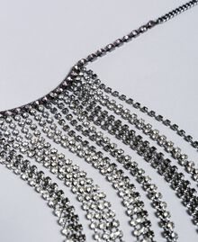 Halskette mit Strass-Steinen Zweifarbig Kristall / Black Diamond Schwarz Frau QA8TK1-02