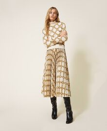 Pleated skirt with chain print Black / Gold Large Chain Print Woman 202TT2212-02