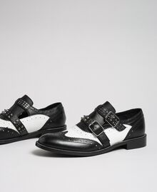 Leather shoes with tie up laces and studded straps Optical White / Black Woman 192TCP10U-01