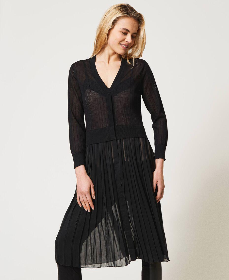 Cardigan long avec insertion plissée Noir Femme 211LL3NGG-01