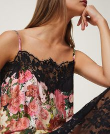 Printed satin slip dress with lace Animal Print Woman 202LL2EJJ-04
