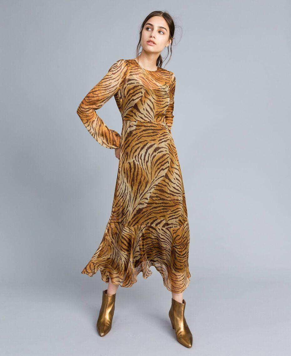 Vestido largo de seda estampada Estampado Tigre Mujer TA8254-02