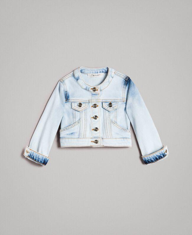 Denim jacket with rhinestones Bleach Denim Child 191GB2471-01