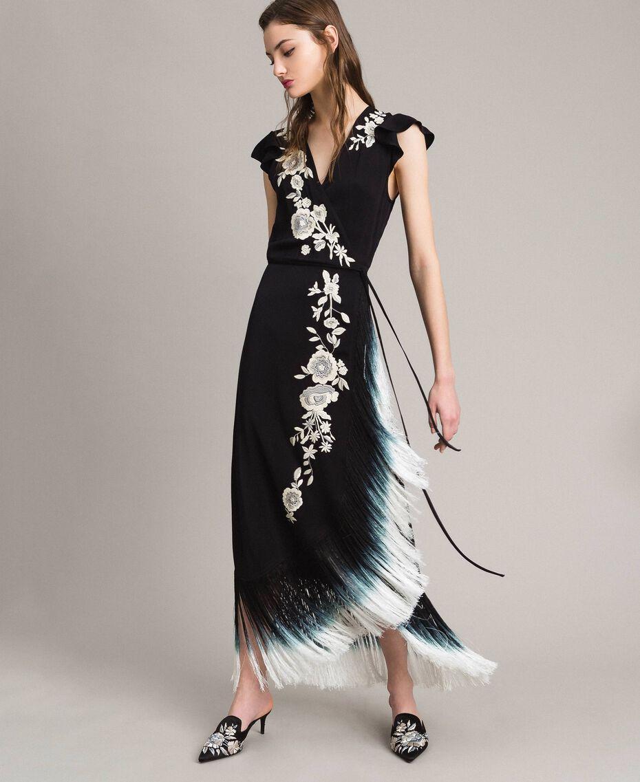 Robe longue avec broderie florale et franges Noir Femme 191TT2135-01