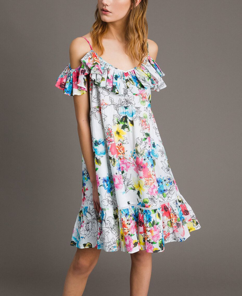 Floral print dress with ruffle and flounce All Over Optical White Multicolour Flowers Print Woman 191MT2290-02