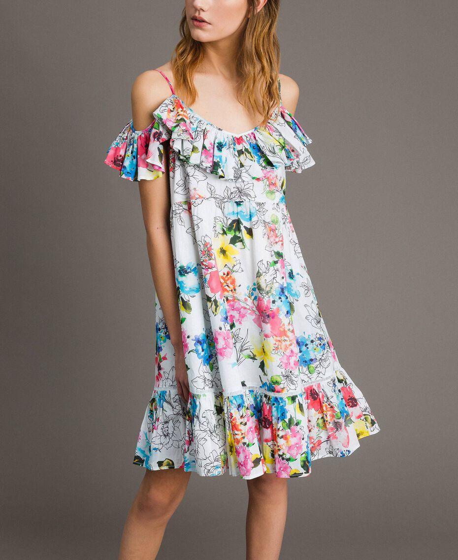 Kleid mit Blumenprint, Rüschen und Volant All Over Optisch Weiß Multicolour Flowers Motiv Frau 191MT2290-02