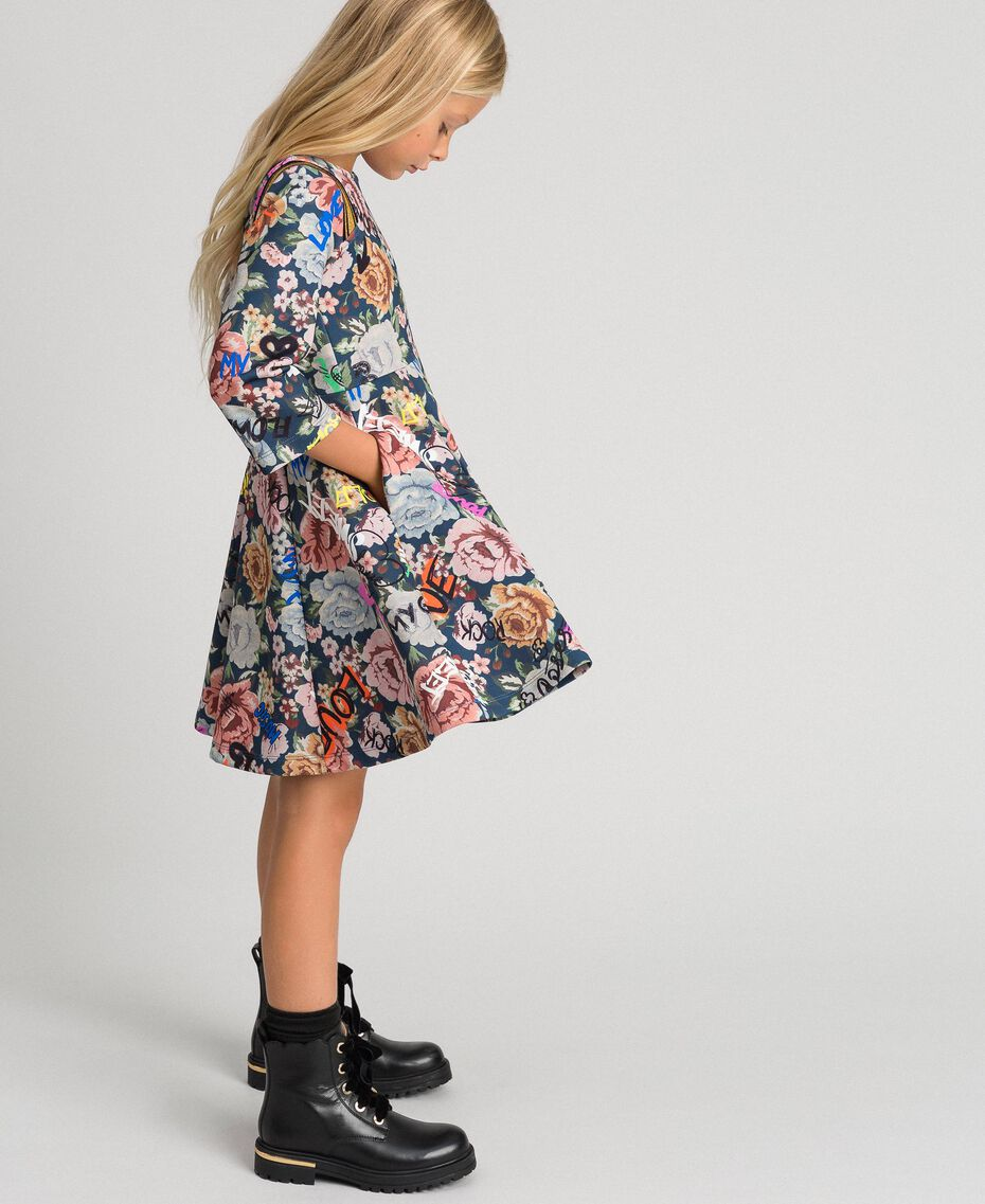 Robe en scuba avec imprimé floral et graffiti Imprimé Graffiti Enfant 192GJ2495-01