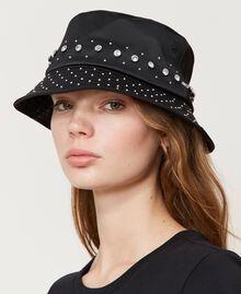 Satin hat with studs and bezels Black Woman 202TA4451-0S