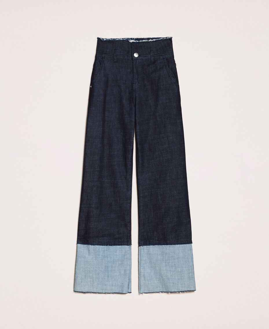 Wide leg jeans with maxi fold Denim Blue Woman 201MP2340-0S