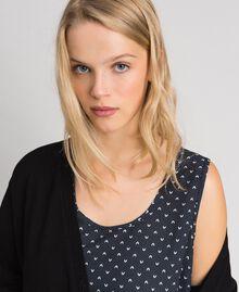 Maxi cardigan et nuisette imprimée avec dentelle Noir / Blanc «Vanille» Femme 192MT3092-05