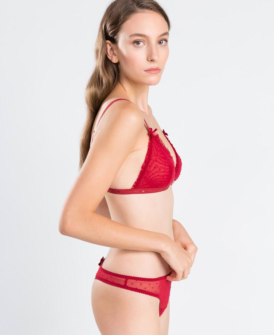 String en tulle à pois floqués Rougeâtre Femme LA8KYY-02