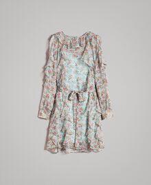 Kleid aus geblümtem Georgette mit Rüschen Motiv Aquamarin Bouquet Frau 191TP2573-0S