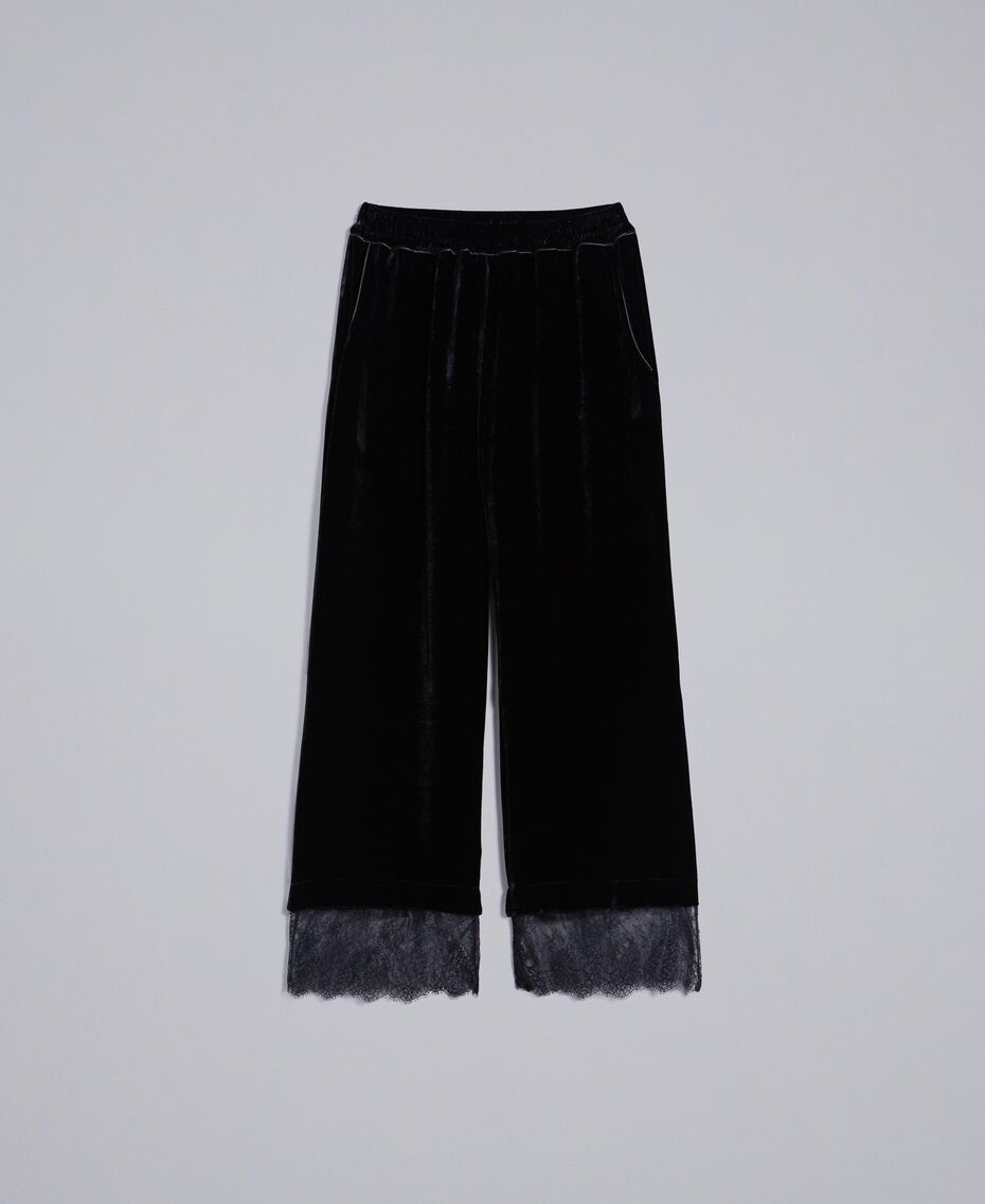 Cropped-Hose aus Samt Schwarz Frau TA826S-0S