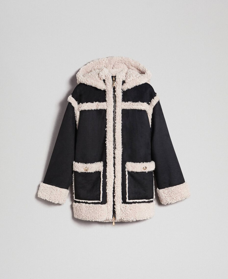 "Faux shearling reversible coat Black / ""Vanilla"" White Woman 192MT2021-0S"