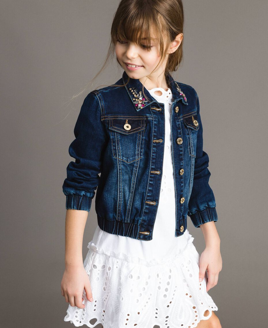 Denim jacket with stones Dark Denim Child 191GJ2632-02