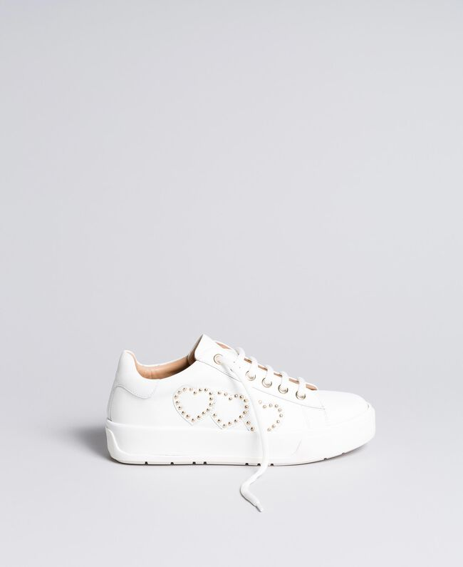Heart leather sneakers White Woman CA8PAQ-01