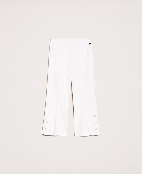 Trousers with frill and pearls