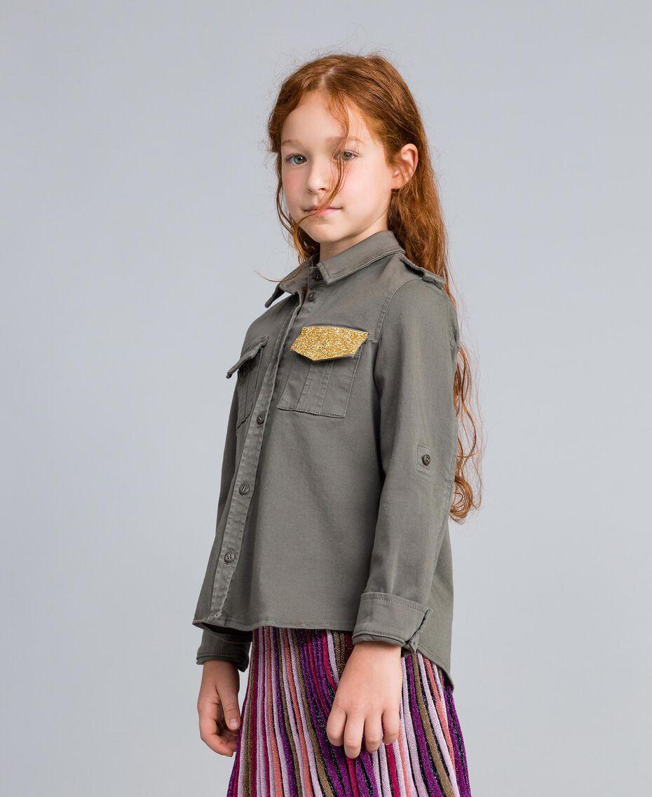 Chemise en coton avec paillettes Olive Enfant GA827Q-02
