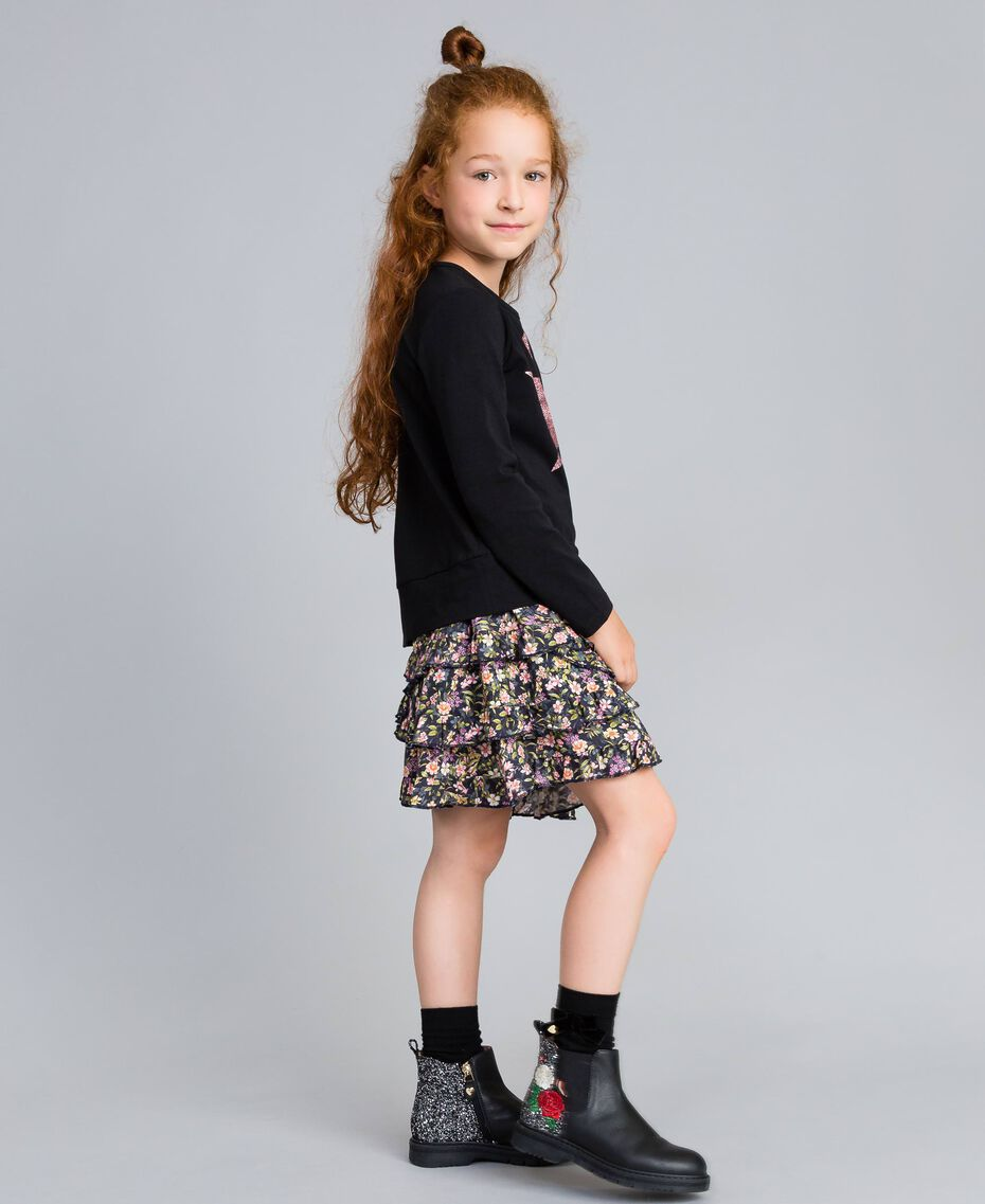 Printed viscose full skirt Micro Flower Print Child GA82TA-02