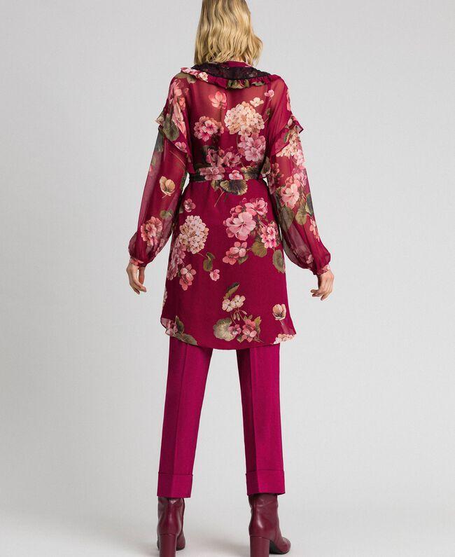 Robe chemisier en crépon avec imprimé floral Imprimé Rouge Betterave Géranium Femme 192TP2728-03