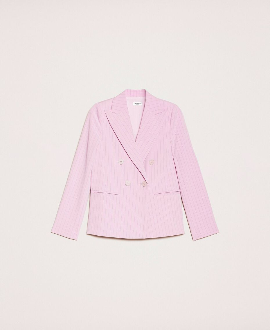 "Double breasted pin stripe blazer ""Candy"" Pink Pin Stripe Jacquard Woman 201ST2080-0S"