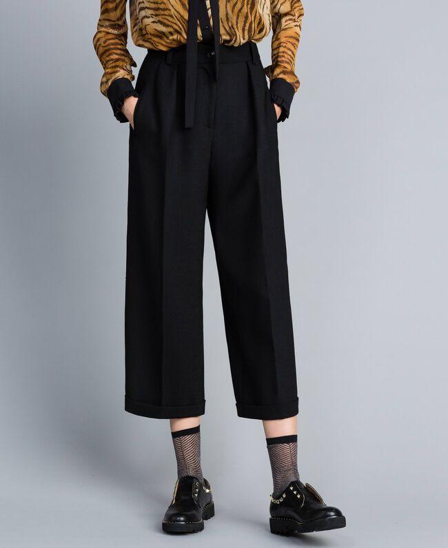 Pantacourt en laine bi-stretch Noir Femme TA8271-01