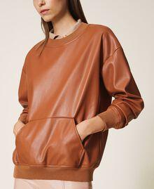 Sweatshirt aus Lederimitat Terrakottarot Frau 202LI2GCC-02