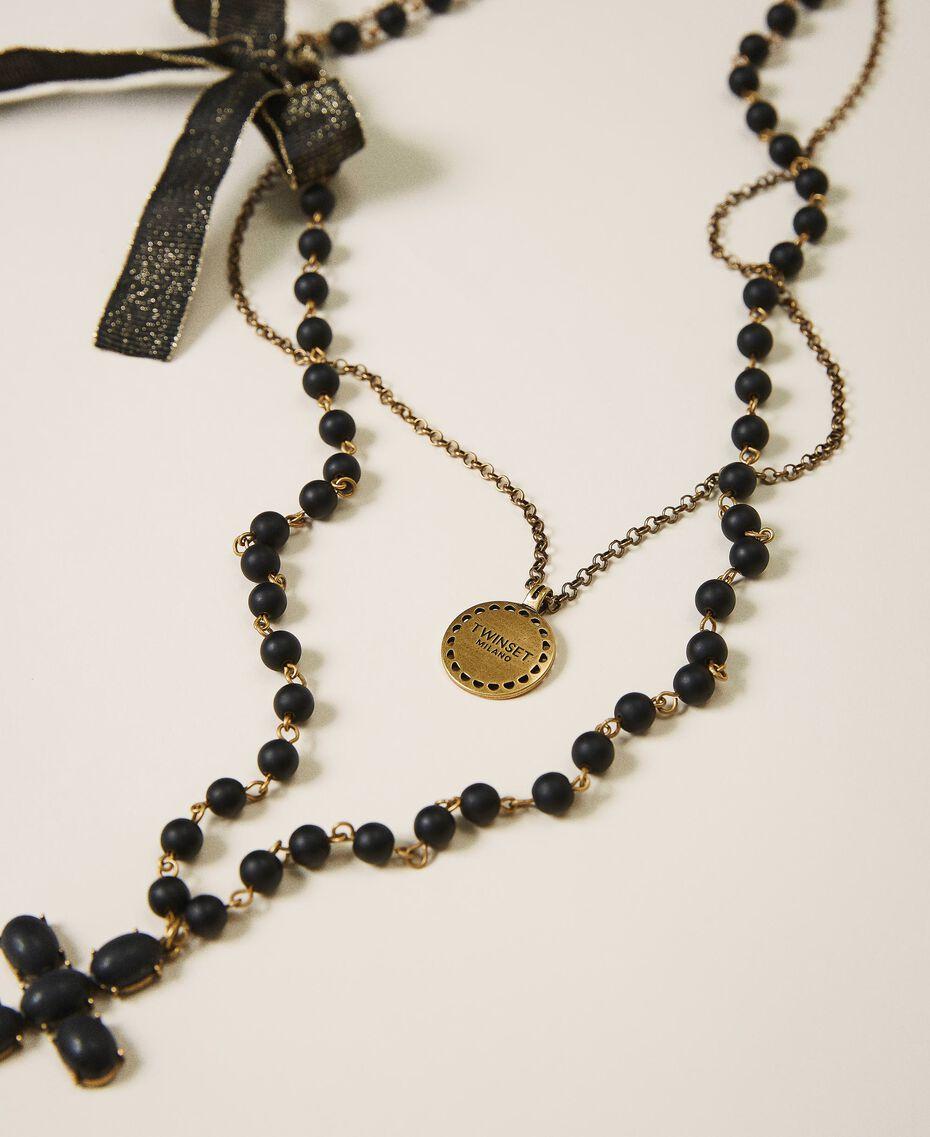 Collier avec charm, croix et nœud Noir Femme 202TA4315-01