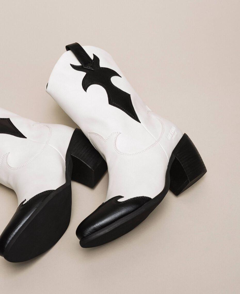 Ковбойские сапоги из двухцветной искусственной кожи Двухцветный Лилия / Черный женщина 201MCP050-02