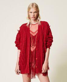 Pleated flounce short tulle dress Dark Raspberry Woman 212TP2201-0T