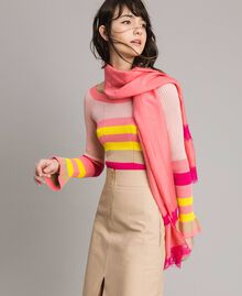 """Écharpe en coton ornée de dentelle Bicolore rose """"Églantine"""" / Rose Fluorescent Femme 191TA4364-0S"""
